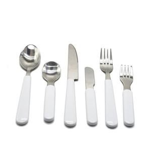 Sublimation White Vaisselle de Vaisselle En Acier Inoxydable Couverts de Couverts De Vaisselle Ouest Argenterie Couteau Couteau Couteau Spoon Fork Dîner Set Enfants Adulte H12504