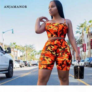 ANJAMANOR Camouflage Print Casual Two Piece Set Crop Top and Pants Summer Short Tracksuit Women Sexy Bodycon Romper D74-AA21 T200518