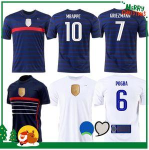 2020 Francia Mbappe Griezmann Pogba maglie 2021 Jersey di calcio di calcio camice Maillot piede uomini + bambini kit de