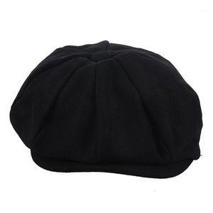 Newsboy Gatsby Cap Mens Hera Hat Golf Driving Winter Frio Plano Plano Black1