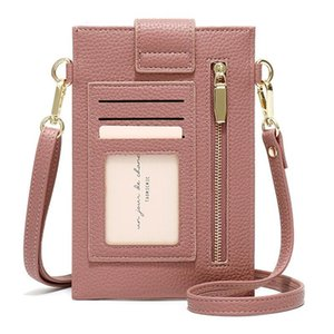 Ultra-Thin Colorful Cellphone Bag Fashion Daily Use Card Holder Small Summer Shoulder Bag for Women Soft PU Leather Zipper Purse
