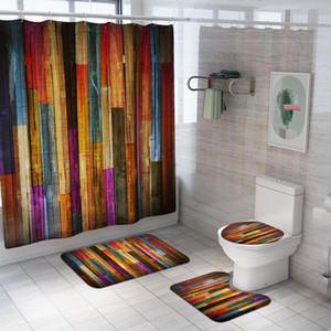 لون الخشب المشارب نمط دش الستار البوليستر حمام ماء ستائر البساط مجموعات غطاء المرحاض حصيرة مجموعة