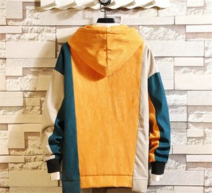 Fashion-Mens Pullover Sleeve Hoddies Mens Color Long Sweatshirts Homme Patchwork Contrast Autumn Collar Winter Designer Hooded Clothing Irti