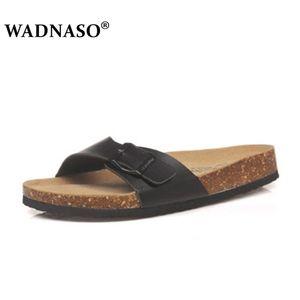 WADNASO Plus Size 35-45 été Cork Chaussons Sandales 2019 Nouveau Hommes Décontracté Beach Double Boucle Imprimé Slip sur Diapositives Chaussures plates X1020