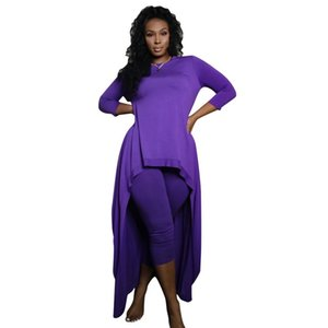 Düzensiz Tasarımcı eşofman Casual Tok Renk Kadın İki Piece Set Ekibi Boyun Kadın İki Adet Pantolon Womens