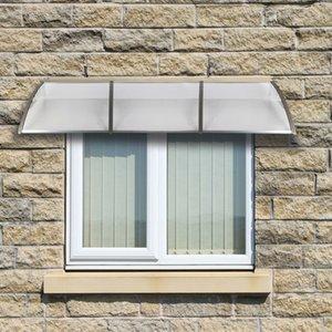 300x100cm Sun Rain Shelter Window Awning Eaves Canopy Front Door Canopy Outdoor Door Window Plastic Bracket ABS Cover Yard Garden