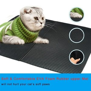 Waterproof Pet Cat Litter Mat Double Layer Litter Cat Bed Pads Trapping Litter Box Mat Pet Products Accessories Bed House Clean 201110