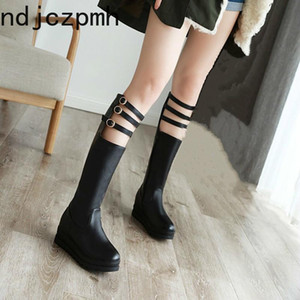 Women's Boots New winter fashion Round head zipper Wedge mid heel High tube Women's shoes plus size 29-43 Heel Height 6cm black
