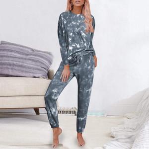 DIHOPE Femmes Tie Dye Imprimé long Pyjama manches longues Ensemble Chemises et pantalon Set Loungewear vêtements de nuit de nuit Automne Taille Plus
