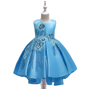 2021 Formal Occasion Girl Dresses 12 13 years old children Halloween Christmas New Year Tulle dress Princess kids flower Girl dress online