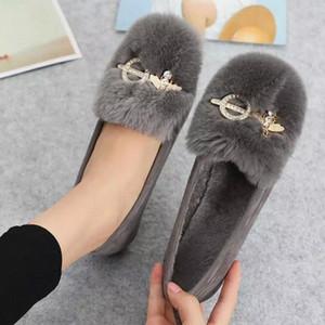 Botas de neve de pele de pele de cristal de mulher tênis de inverno de pelúcia quente botas de tornozelo liso de moda calçados senhora mulheres camurça plus size 43 # xu0w