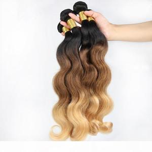 9A Brezilyalı Ombre Saç Örgüleri # 1B 4 27 Bal Sarışın Üç Ton Saç Uzantıları Vücut Dalga Bakire Brezilyalı Ombre Saç Demetleri 3 adetgrup