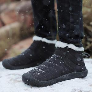 Gilaugh Kış Süper Sıcak Peluş Erkekler Kış Çizmeler Su Geçirmez Yağmur Çizmeleri Unisex Antiskid Alt Tutun Sıcak Kar Botu Büyük Boy 35-48 # DS0E