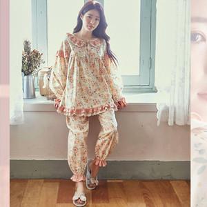 Reiner Baumwolle Pyjamas Set Frauen Süße Prinzessin Frauen Vollarm Top Hemd Hose Mama Lose Koreaner Stil 2021Pajamas Kpacotakowka