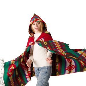 Fashion Scarf Autumn and Winter New Yunnan Horn Button Ethnic Style Hoodie Cloak Shawl Bohemian Ethnic Style Hooded Shawl Factory Fashion De