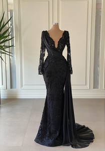 Arabic Aso Ebi Black Evening Pageant Dresses Luxury Lace Beaded Pearls Long Sleeve V-neck Sexy Slid Train Prom Reception Gown