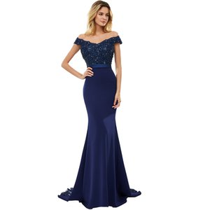 BEPEITHY Sexy Off The Shoulder Long Evening Dress Party Elegant 2020 100% Handmade Beadings Mermaid Prom Gowns Fast Shipping