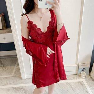 Simisi Women's Nightgown Terno Sólido Bordado Lace Sexy Sleepwear Silk Cetim Robe Sets Cool e Respirável Lazer Home Roupas1