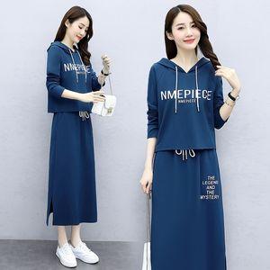 MlZQA Hangzhou 2020 Herbst der neuen Frauen Art und Weise beiläufigen skirtHooded Satz Brief Rock Pullover zwei Pullover Stück Bie3W Rock