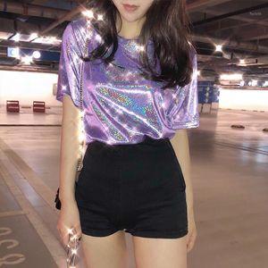 summer stylish bright silk woman tops shiny loose short sleeve t-shirt sexy club aesthetic harajuku women tshirt1