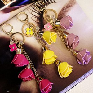 new 2018 Camellia Flower Leather Keychain Bag Pendant Car Ornaments Creative Gifts Long Key Chain Buckle Key Ring 14 Colors Eh586 H jllDPs