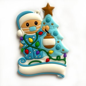 Saludos de Navidad ornamento de DIY cuarentena fiesta de cumpleaños de Navidad del árbol de familia de PVC colgante de la mascarilla del colgante HHB2349