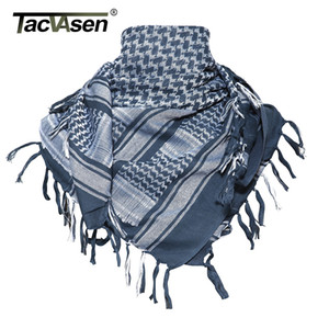 TACVASEN Men Military Shemagh Scarf Tactical Arab Keffiyeh Scarf Arabic Cotton Paintball Camouflage Head Scarf Airsoft Face Mask 201026