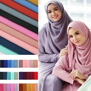 femmes Peacesky foulard en mousseline de soie bulle simple hijab envelopper imprim châles de couleur unie bandeau populaire foulard musulman hijab / écharpe