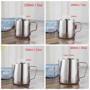 Jarra de espuma de leche de acero inoxidable 5 7 12 20 oz leche crema taza de café crema de café latte espuma de jarra capuchino tirón flor marea hwe2609
