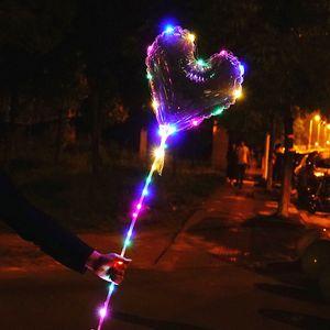 LED Balloon Transparent Lighting BOBO Ball Balloons with 70cm Pole 3M String Balloon Xmas Wedding Party Decorations