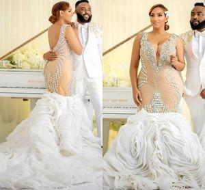 Champagne Mermaid African Wedding Dresses 2021 Luxury Crystal Beaded Cascading Ruffles Trumpet Plus size Bridal Gowns vestidos de novia
