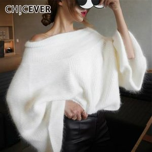 CHICEVER Autumn Winter Knitted Sweater Pullovers Tops Female Slash Neck Flare Sleeve Off Shoulder Sweaters Fashion Tide 201102