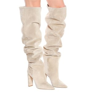YECHNE New Winter Boots Botas Mujer Big Size 34-46high Heels Autumn Winter Shoes For Women Sexy Casual Women's Boots 6-3