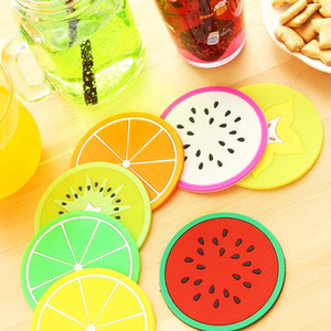 Small Amount Colorful PVC Fruit Jelly Silicone Anti-Slip Lovely Cup Mat Mug Dish Bowl Coasters Kitchen Accessories Home Decoration