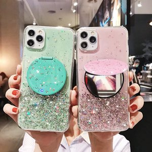 Hot Shiny Mirror bracket Transparent phone case for iphone 12 case for iphone 11 pro max x xr xs max 7 8 plus 6 6s Back cover cases