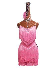 Latin Dance Competition Dress Performing Dress Adult Female Tassels Skirt Children's Light Pink Skirt #LD0071
