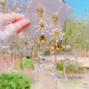 MENGJIQIAO New Exagéré cristal long élégant fleur jaune perle Tassel Boucles d'oreilles pour Femmes Filles Brincos Party Bijoux