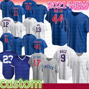 9 Javier Baez Anthony Rizzo 2020 Temporada Chicago Basebol Jersey Kris Bryant Ryne Sandberg Yu Darvish Kyle Schwarber Willson Contreras Bote
