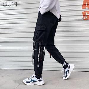 Fitas Hip Hop Corredores calças cargo para Homens Pockets calças lápis Casual Masculino Calças Esporte Pista Streetwear Love Letter Retro