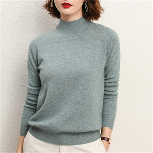 Half turtleneck sweater bottoming shirt women's long-sleeved autumn and winter new sweater 20 loose version 201222