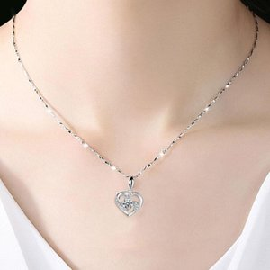 Graceful Shiny Zircon Heart Crystal Pendant Necklace For Women Vintage Ladies love Chain Dangle Necklace Jewelry