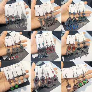 New Vintage Silver Plated Colorful Vintage Earrings For Women Bohemian Mixed Clear CZ Zircon Dangle Drop Earring