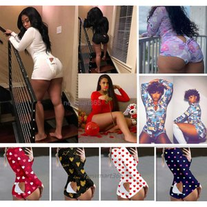 Donne tutestsuits Rompers Designer Pigiama Onesies Nightwear Body Workout Button Pulsante Skinny Hot Stampa a V Collo a V Pantaloni corti Nightclothes DHL