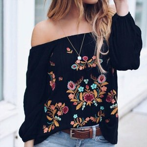Women Off Shoulder Long Sleeve Top Shirts Embroidery Flowers Vintage Loose Casual Pullover Autumn Chic Fashion Blouse Streetwear