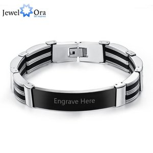 Silicone Titanium Steel Personalized Engrave Bracelets For Men Custom 205 mm Bracelets&Bangles Best Man Gifts(JewelOra BA101449)1
