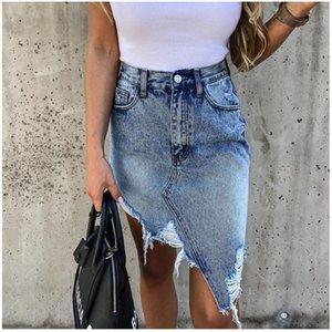 Brand New Woman Trendy Retro Lavagem Saia Irregular Verão Feminino Cintura Alta Cintura Denim Saias Elastic Bodycon Hip Saia Jeans