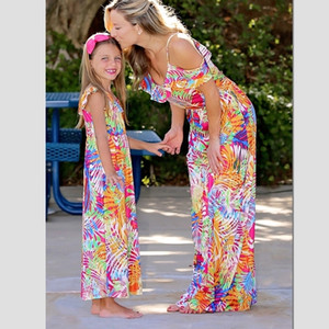 Long Tank Mother Daughter Dresses Family Look Mommy and Me Clothes Mom Mum Mama and Daughter Matching Outfits Dress Clothing Y200713
