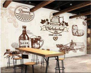 3D Wallpaer Photo Photo Mural en la pared Pintado a mano Cerveza KTV Bar Sala de estar Murales de pared 3D Fondos de pantalla gratis para paredes 3 D Decoración para el hogar