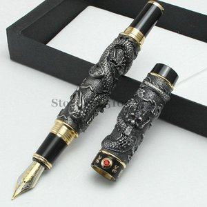 FREE SHIPPING NEW JINHAO GRAY FOUNTAIN PEN BROAD NIB TWO DRAGON PLAY THE PEARL WITHOUT ORIGINAL BOX