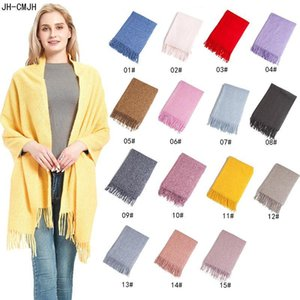 Japan and South Korea fashion autumn winter Cashmere Scarf Women Clip Flower pure color long flow comb thorn shawl With Tassel